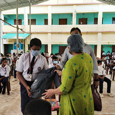 Distribution of education kits to 400 home-locked, rural children...